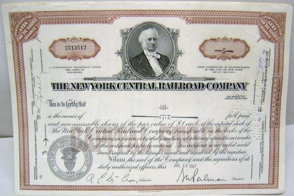 New York Central Railroad Stock Certificates Lot
