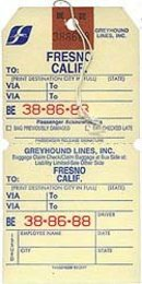 Greyhound Bus Baggage Tags 1970s