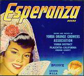 Esperanza Sunkist Orange Citrus Crate Label