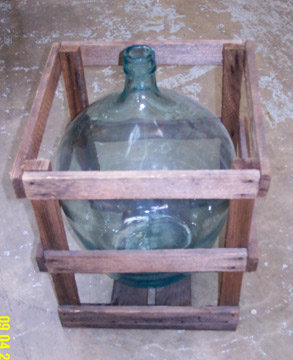 French Wine Jug in Wood Crate