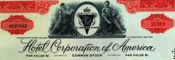 Hotel Corporation America Stock Certificate 1950
