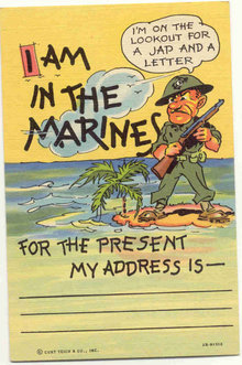 Linen Marines Postcard WW2
