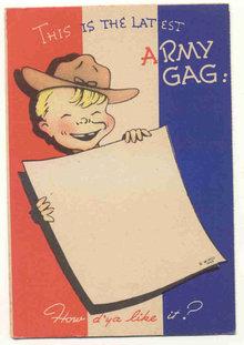 Army Gag Postcard 1940s