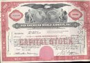 Pan America Airways Stock Certificate 1958