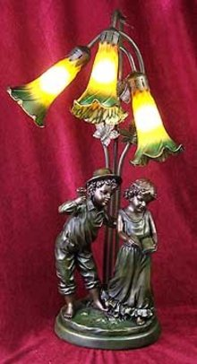 Boy Girl Tiffany Style Lamp - New