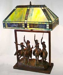 Tiffany Style Glass Cowboy Lamp
