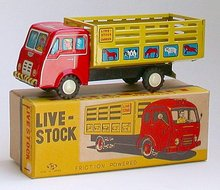 Tin Friction Farm Truck Toy JAPAN - live stock