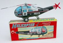 Police Friction Helicopter Toy - Tin Litho