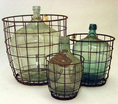 Wine Bottle Wire Basket 1930s