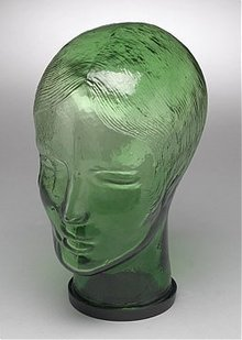 Glass Mannequin Head - Green