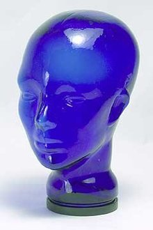 Glass Mannequin Head - cobalt blue