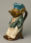 Porcelain Pig Pitcher - Majolica Style