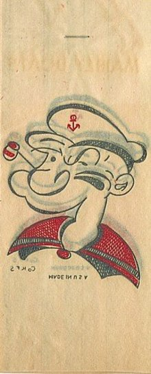 Popeye Iron-On Transfer Decals Toys 1940s