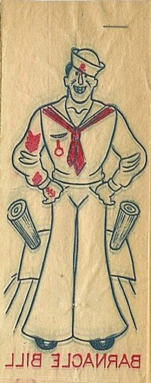 Barnacle Bill Sailor Iron-On Transfer Decals Toys 1940s