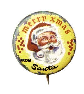 Santa Claus Pinback Pin 1950s