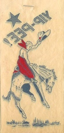 Bucking Bronco Cowboy Iron-On Transfer Decal 1940s