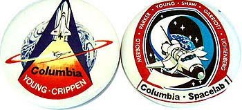 Space Shuttle Pinback Pins