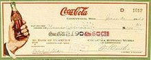 Coca-Cola Soda Check 1940s Hand Bottle