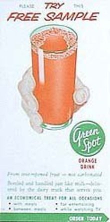 Green Spot Orange Drink Coupons 1940s