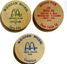 McDonalds Wood Nickel Coupon Coins