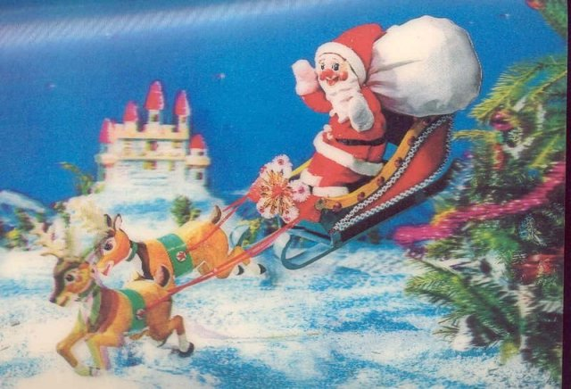 Christmas 3D Flicker Santa Claus Postcard