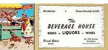 Liquor Store Blotter 1940s
