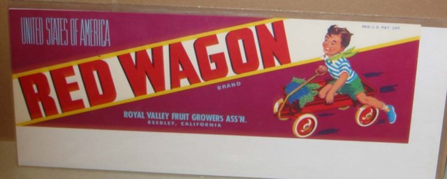 Red Wagon Crate Label