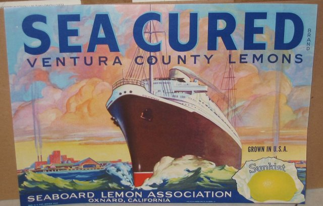 Sea Cured Lemon Citrus Crate Label