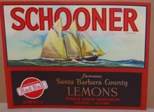 Schooner Citrus Lemon Crate Label