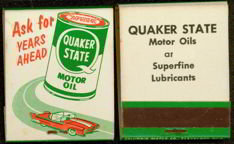 Quaker State Oil Matchbook