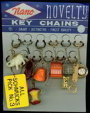 Keychains Novelty Toys on Card 1960s