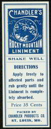 Chandlers Rocky Mountain Liniment Label