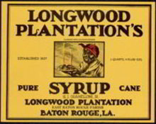 Longwood Mammy Plantation Syrup Label