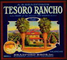 Tesoro Rancho Sunkist Citrus Crate Label