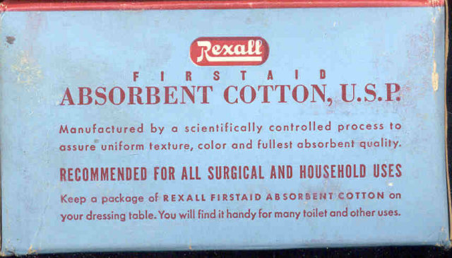 Rexall Absorbent Cotton Box 1940s