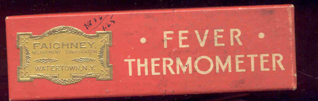 Faichney Fever Thermometer in Box Watertown NY