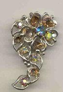 Rhinestone Swirl Pin Brooch