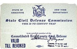 Civil Defense Membership Card