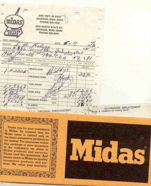 Midas 1976 Receipt with Envelope
