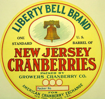 NJ Cranberries Barrel Label - Liberty Bell
