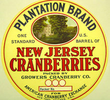 NJ Cranberries Plantation Barrel Label