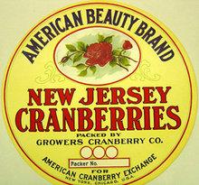 NJ Cranberries American Beauty Roses Barrel Label