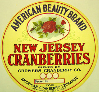 NJ Cranberries American Beauty Roses Barrel Label