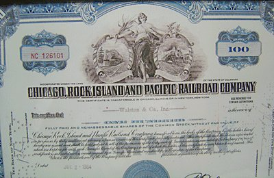 Rock Island Pacific Railroad Stock Certificate Framed