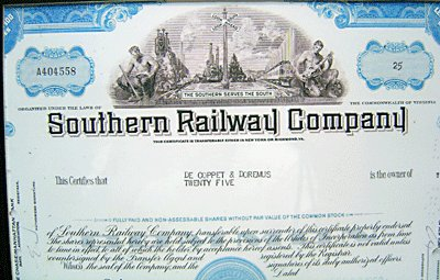 Southern Pacific Railroad Stock Certificate Framed