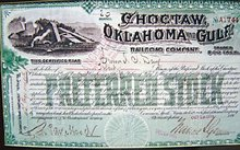 Chocktaw Gulf Railroad Stock Certificate Framed