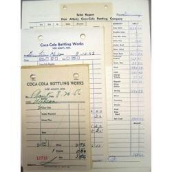 Coca Cola Soda Receipts 1950s 1960s