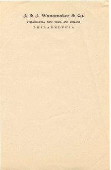 Wanamaker's Notepad Sheet