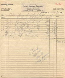 King Novelty Invoice 1948