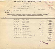 Liggett Myers Tobacco Invoice